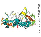 card of windsurfing. board... | Shutterstock . vector #591422501