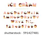 ice cream font. cute wafer... | Shutterstock .eps vector #591427481