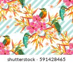seamless summer tropical... | Shutterstock .eps vector #591428465