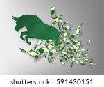 bull paper art with money for...   Shutterstock .eps vector #591430151