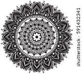 ethnic mandala ornament.... | Shutterstock .eps vector #591432341
