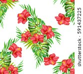 summer tropical background of... | Shutterstock . vector #591437225