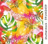 seamless pattern with leaves... | Shutterstock . vector #591443459