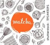 matcha concept. japanese ethnic ... | Shutterstock .eps vector #591445091