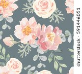 pale pink roses and peonies... | Shutterstock .eps vector #591446051
