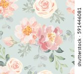 pale pink roses and peonies... | Shutterstock .eps vector #591446081