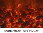 close up of embers in forge | Shutterstock . vector #591447029