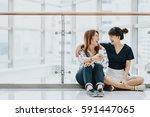 young happy asian girls best... | Shutterstock . vector #591447065