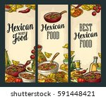 vertical posters with mexican... | Shutterstock .eps vector #591448421