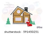 detached house in the winter... | Shutterstock .eps vector #591450251