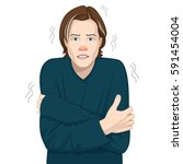 young man freezing from cold. | Shutterstock .eps vector #591454004