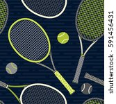 colorful racket and tennis ball ... | Shutterstock .eps vector #591456431