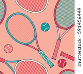 colorful racket and tennis ball ... | Shutterstock .eps vector #591456449