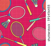 retro colorful badminton racket ... | Shutterstock .eps vector #591456455