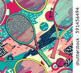 colorful  racket and tennis... | Shutterstock .eps vector #591456494