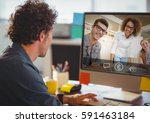 man having video call with... | Shutterstock . vector #591463184