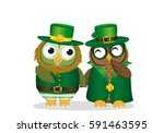 two happy owls in national... | Shutterstock .eps vector #591463595