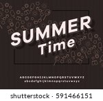 vector font and alphabet with... | Shutterstock .eps vector #591466151