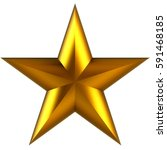 3d golden star isolated on... | Shutterstock . vector #591468185