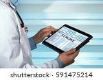doctor consulting medical... | Shutterstock . vector #591475214