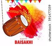 punjabi festival happy baisakhi ... | Shutterstock .eps vector #591477359