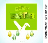happy easter background with... | Shutterstock .eps vector #591485459