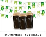 garland of flags with clover. a ... | Shutterstock .eps vector #591486671