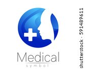 vector medical sign logo with... | Shutterstock .eps vector #591489611