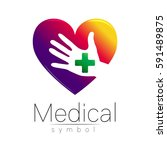 vector medical sign logo with... | Shutterstock .eps vector #591489875