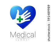 vector medical sign logo with... | Shutterstock .eps vector #591489989