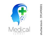 vector medical sign logo with... | Shutterstock .eps vector #591490001