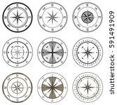 compass  compasses set. flat...   Shutterstock .eps vector #591491909