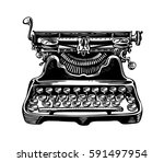 hand drawn vintage typewriter ... | Shutterstock .eps vector #591497954