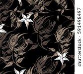 vector seamless pattern flowers ...   Shutterstock .eps vector #591498497