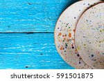 two white ceramic handmade... | Shutterstock . vector #591501875