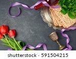 passover holiday concept matzoh ... | Shutterstock . vector #591504215