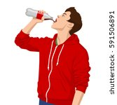 young man drinking soda. | Shutterstock .eps vector #591506891
