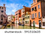 traditional narrow canal with...   Shutterstock . vector #591510635