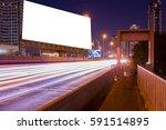 Blank Billboard On Light Trail...