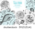 vintage seafood frame vector... | Shutterstock .eps vector #591515141