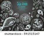 vintage seafood frame vector... | Shutterstock .eps vector #591515147
