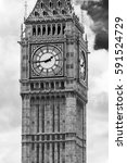 Big Ben, London in black and white - stock photo