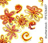 bright tropical flowers.... | Shutterstock . vector #591526607