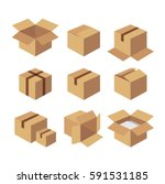 flat carton   recycle brown box ... | Shutterstock .eps vector #591531185