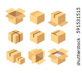 flat carton   recycle brown box ... | Shutterstock .eps vector #591531515