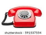 landline red  phone on a...