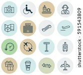 set of 16 travel icons.