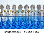 sheikh zayed grand mosque at... | Shutterstock . vector #591557159