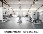 fitness hall with fitness... | Shutterstock . vector #591558557