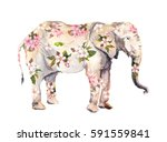 Stock photo elephant animal in flowers watercolor 591559841